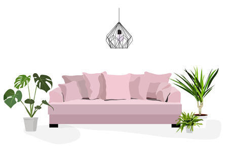 vector furniture living room interior design elements.botanical modern style.