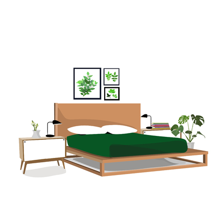 bedroom vector interior design elements.botanical modern style.