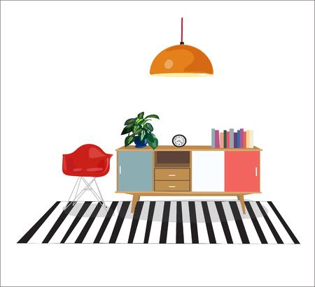 家具リビング ルーム インテリア デザイン elements.mid 世紀モダンなレトロなスタイルをベクトルします。  イラスト・ベクター素材