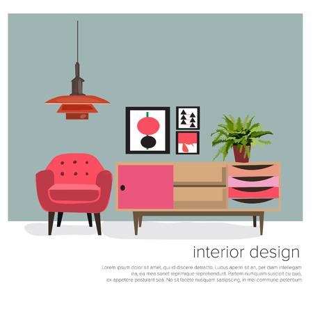 vector furniture living room interior design elements.mid century modern retro style. Illustration