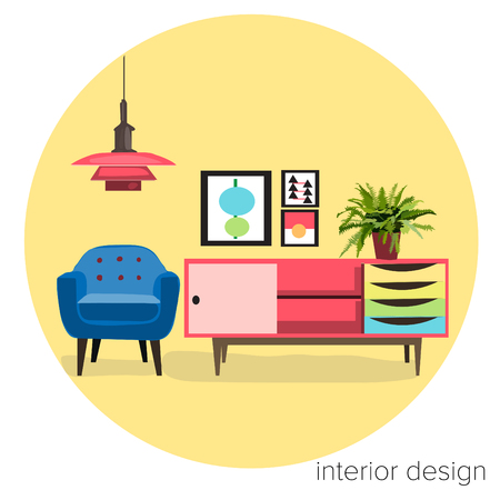 vector furniture living room interior design elements.mid century modern retro style. 矢量图像