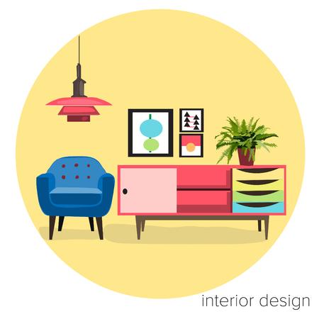 vector furniture living room interior design elements.mid century modern retro style. Vectores