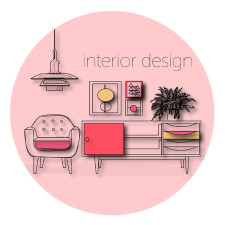 round chairs: vector furniture living room interior design elements.mid century modern retro style. Illustration