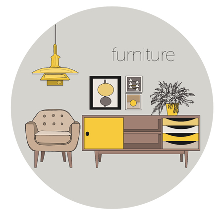 vector furniture living room interior design elements.mid century modern retro style.