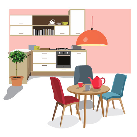 kitchen dining room vector illustration. vector furniture. home  interior design