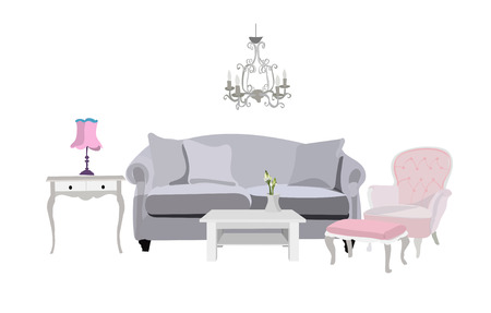 vector living room illustration. furniture. Illustration