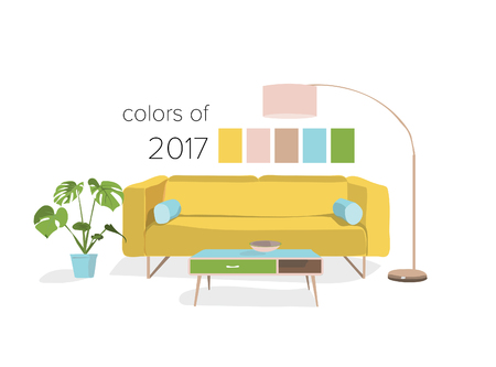 primrose yellow, greenery, color trends of 2017. sofa. paradise island. living room design.