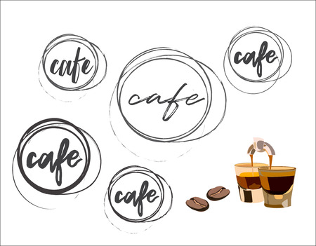 coffee shop logo. coffee bean, espresso brewing Illustration