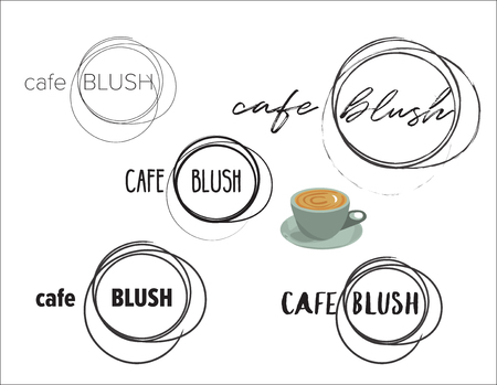 cafe logo set. hand written font. cafe blush