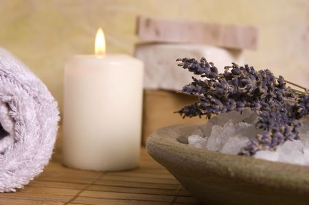 aromatherapy. lavender bath items. towel, salt, soap, flwers, candles. spa Stock Photo - 3382892