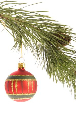 christmas tree. decoration. evergreen branch with ball Stock Photo - 3383035