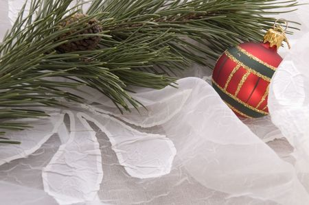 christmas table. evergreen branch and ball Stock Photo - 3383027