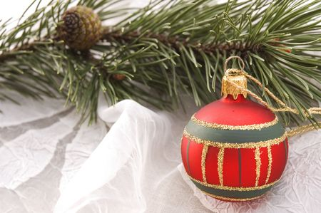 christmas table. evergreen branch and ball Stock Photo - 3383033