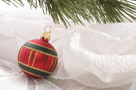 christmas table. evergreen branch and ball Stock Photo - 3383082