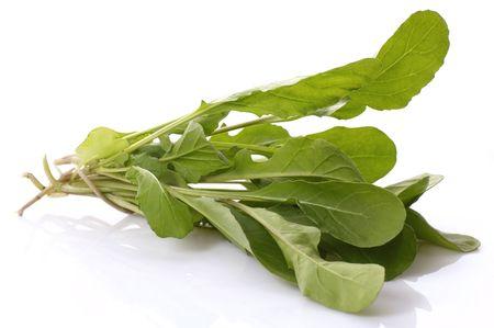 rocket lettuce: fresh rucola isolated on the white background Stock Photo