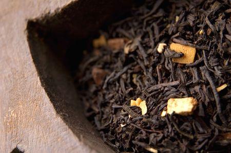 intense flavor: wooden box of tea leaves - orange, jasmine, fruit and