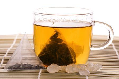 intense flavor: white tea, nylon tea-bag and sugar