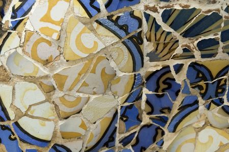 social history: Antoni Gaud� mosaic work on the main terrace at Park G�ell (1914)- Barcelona - Spain. Stock Photo