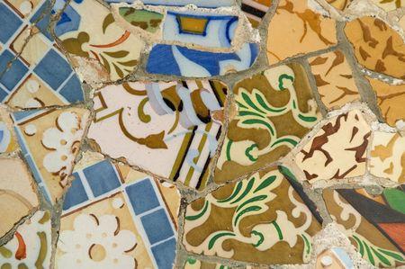Antoni Gaud� mosaic work on the main terrace at Park G�ell (1914)- Barcelona - Spain. photo