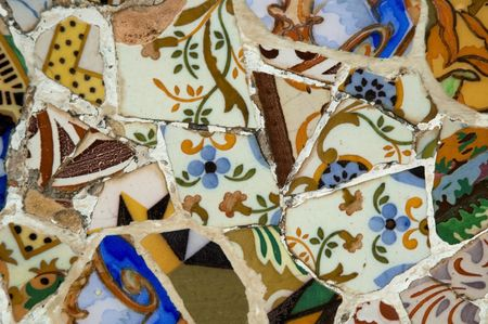 Antoni Gaud� mosaic work on the main terrace at Park G�ell (1914)- Barcelona - Spain. Stock Photo - 3450365