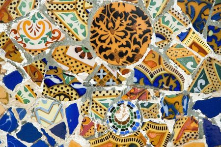 barcelona spain: Antoni Gaud� mosaic work on the main terrace at Park G�ell (1914)- Barcelona - Spain. Stock Photo