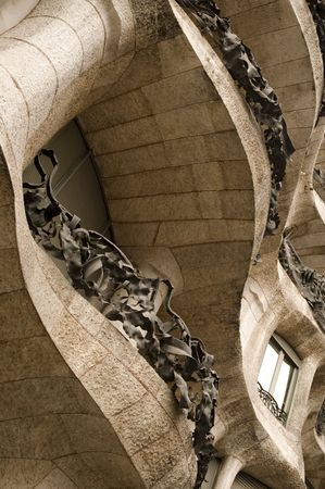 modernist  by antonio gaudi - la padrera. detail photo