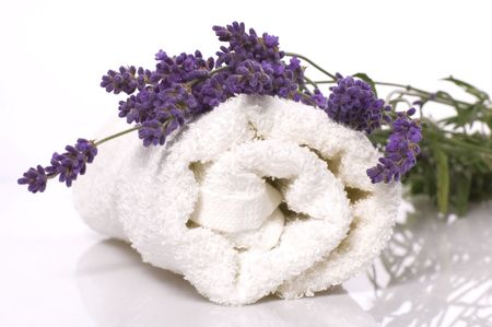 lavender coloured: lavender bath items isolated on the white background