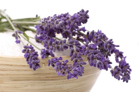 lavender coloured: lavender bath items. salt, and fresh flower