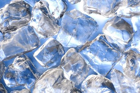 macro of ice cubes in a blue bin