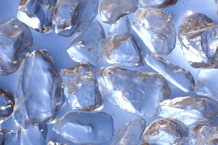 macro of ice cubes in a blue bin photo