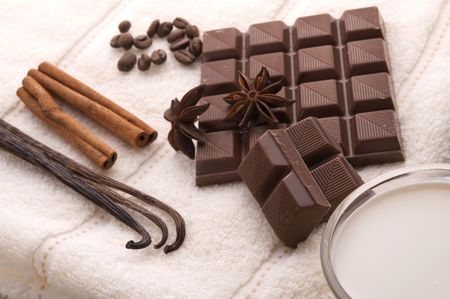 sensuality spa. chocolate, milk and spices - vanilla, cinnamon, anise star and coffe photo