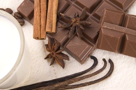 sensuality spa. chocolate, milk and spices - vanilla, cinnamon, anise star and coffe