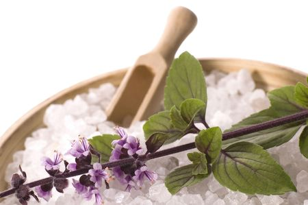 aroma bath items. sea salt and fresh basil with flowers. isolated on the white background Stock Photo - 3457656