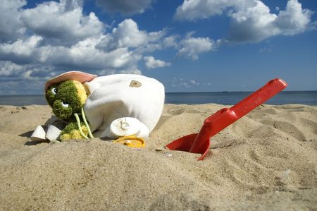 beachbag: bag and beach items and sun block. summerscenic