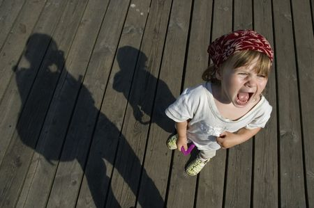 disobey: angry girl. a toddler showing his temper! Stock Photo