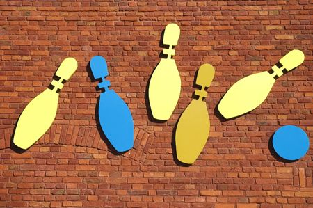 bowling club. brick wall photo