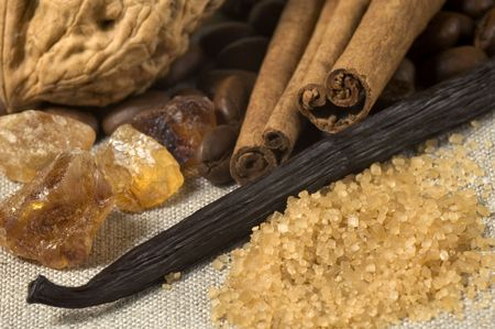 vanilla, cinnamon sticks and other spices and ingredients. Christmas cuisine photo