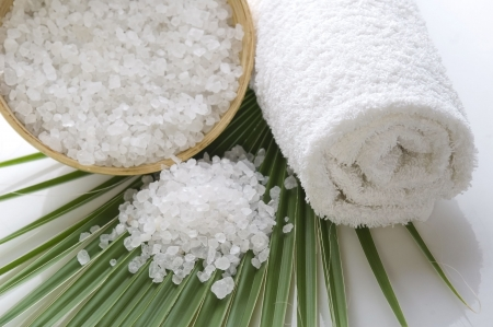 sugar palm: bath salt and the palm leaf