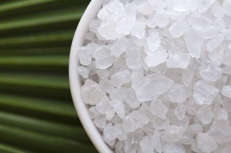 salt crystal: bath salt and palm leaf