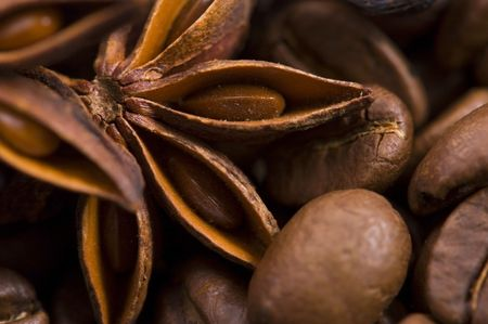 aroma coffe. ingredients. coffe beens, anise photo