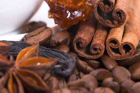 aroma coffe. ingredients. coffe beens, anise, chocolate, cardamon, cinnamon, sugar photo