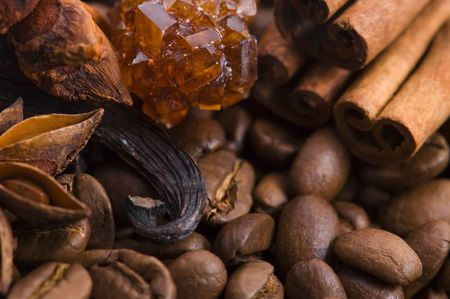 aroma coffe. ingredients. coffe beens, anise, vanilla, cinnamon, sugar photo