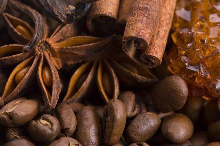 aroma coffe. ingredients. coffe beens, anise, vanilla, cinnamon, sugar photo