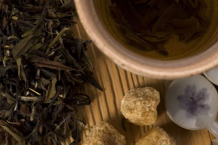 gunpowder tea: green tea Stock Photo
