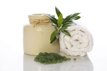 fresh olive branch and bath salt. spa photo
