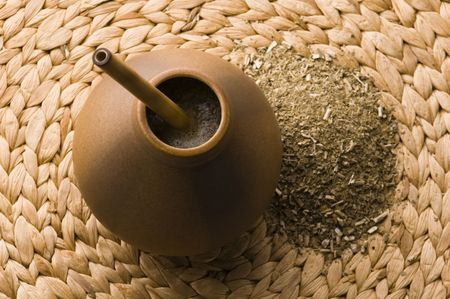 argentinian calabash with yerba mate photo