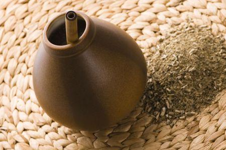 yerba mate: calabash argentino con yerba mate Foto de archivo
