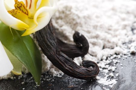 vanilla beans with aromatic sugar and flower photo