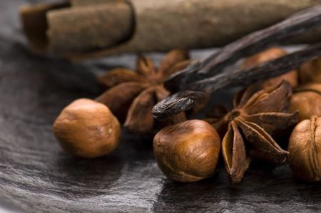 christmas scent: aromatic spices with brown sugar and nuts