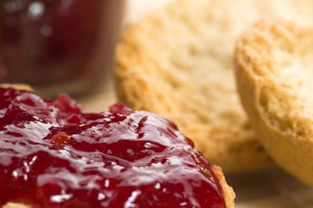 Breakfast of cherry jam on toast photo